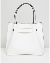 Borsa shopping in pelle bianca di New Look
