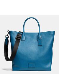 Borsa shopping in pelle blu