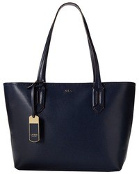 Borsa shopping in pelle blu scuro