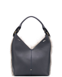 Borsa shopping in pelle blu scuro di Anya Hindmarch