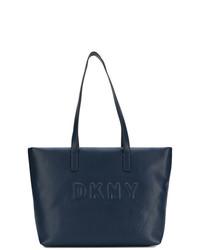 Borsa shopping in pelle blu scuro di DKNY