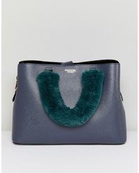 Borsa shopping in pelle blu scuro di Essentiel Antwerp