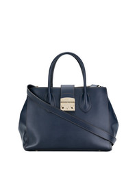 Borsa shopping in pelle blu scuro di Furla