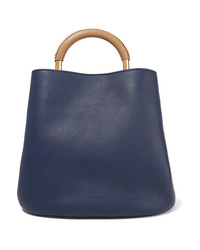Borsa shopping in pelle blu scuro di Marni