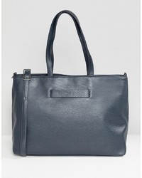 Borsa shopping in pelle blu scuro di Matt & Nat