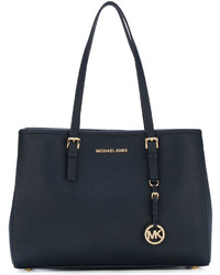 Borsa shopping in pelle blu scuro di Michael Kors