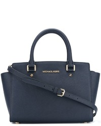 Borsa shopping in pelle blu scuro di MICHAEL Michael Kors