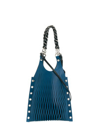 Borsa shopping in pelle blu scuro di Sonia Rykiel