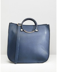 Borsa shopping in pelle blu scuro di Yoki Fashion