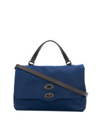 Borsa shopping in pelle blu scuro di Zanellato