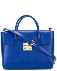 Borsa shopping in pelle blu di Furla