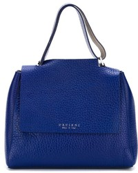 Borsa shopping in pelle blu di Orciani