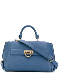 Borsa shopping in pelle blu di Salvatore Ferragamo