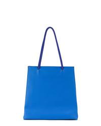 Borsa shopping in pelle blu di Sarah Chofakian