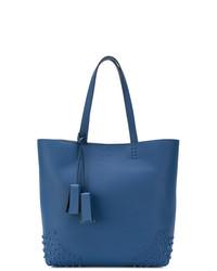 Borsa shopping in pelle blu di Tod's