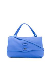 Borsa shopping in pelle blu di Zanellato