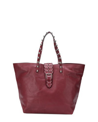 Borsa shopping in pelle con borchie bordeaux di RED Valentino