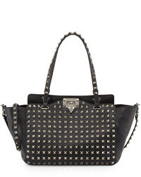 Borsa shopping in pelle con borchie nera