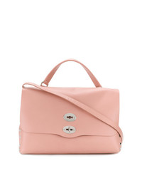 Borsa shopping in pelle con borchie rosa di Zanellato