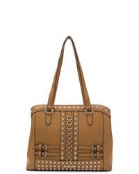 Borsa shopping in pelle con borchie terracotta di Love Moschino