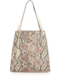 Borsa shopping in pelle con stampa serpente beige