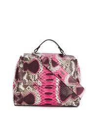Borsa shopping in pelle con stampa serpente rosa di Orciani