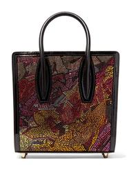 Borsa shopping in pelle decorata nera di Christian Louboutin
