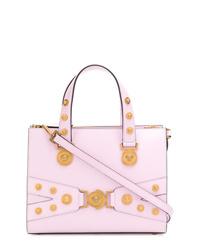 Borsa shopping in pelle decorata rosa di Versace