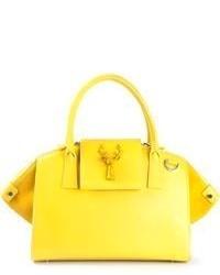 Borsa shopping in pelle gialla