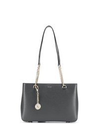 Borsa shopping in pelle grigio scuro di DKNY