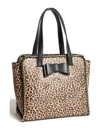 Borsa shopping in pelle leopardata nera e marrone chiaro