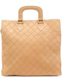 Borsa shopping in pelle marrone chiaro di Chanel