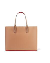 Borsa shopping in pelle marrone chiaro di Christian Louboutin