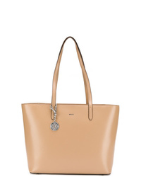 Borsa shopping in pelle marrone chiaro di DKNY