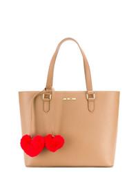 Borsa shopping in pelle marrone chiaro di Love Moschino