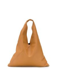 Borsa shopping in pelle marrone chiaro di MM6 MAISON MARGIELA