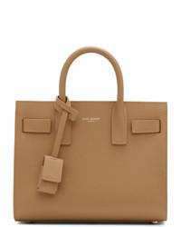Borsa shopping in pelle marrone chiaro di Saint Laurent