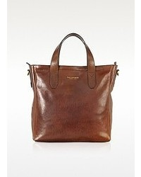 Borsa shopping in pelle marrone