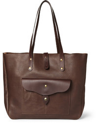 Borsa shopping in pelle marrone scuro