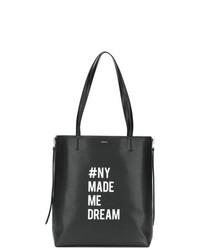 Borsa shopping in pelle nera e bianca di DKNY