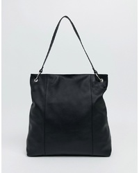Borsa shopping in pelle nera di ASOS DESIGN