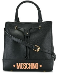 Borsa shopping in pelle nera di Moschino
