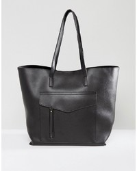 Borsa shopping in pelle nera di New Look