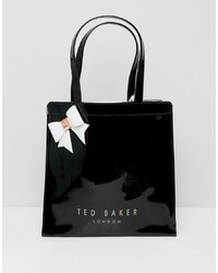 Borsa shopping in pelle nera di Ted Baker