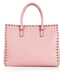 Borsa shopping in pelle rosa