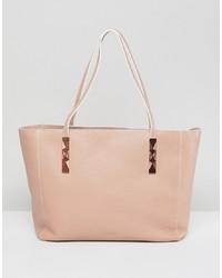 Borsa shopping in pelle rosa di Ted Baker