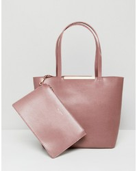 Borsa shopping in pelle rosa di Ted Baker