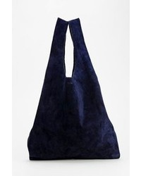 Borsa shopping in pelle scamosciata blu scuro