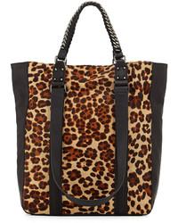 Borsa shopping in pelle scamosciata leopardata marrone chiaro