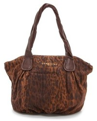 Borsa shopping in pelle scamosciata leopardata marrone